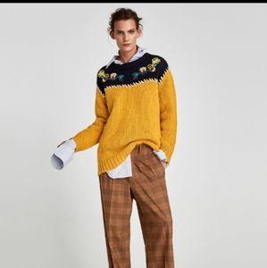 ZARA Embroidered Chunky Oversized Sweater